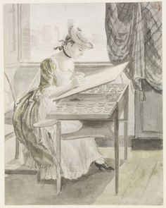 Paul Sandby (1731-1809) A young lady painting  circa 1760circa 1770  Pencil and watercolour | 19.2 x 15.1 cm (sheet of paper) | RCIN 914377