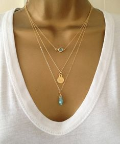 3 Gold Layering Necklaces uk Shop ALSO IN SILVER door PABJewellery