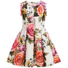 Monnalisa Ivory Floral Neoprene Dress at Childrensalon.com