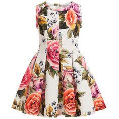 Monnalisa Ivory Floral Neoprene Dress at Childrensalon.com