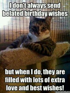 Belated Birthday Meme, Cat Birthday, Birthday Memes, Happy Birthday, Birthday Greetings, Birthday Cards, Happy 40th, Silly Cats, Funny Cats