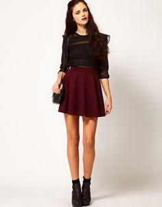 ASOS River Island Burgundy Ponte Skater Skirt: Finally found the perfect skater skirt at a great price!