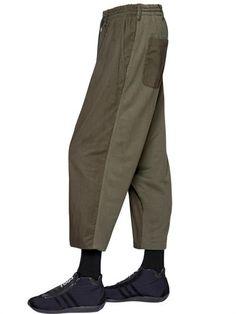 YOHJI YAMAMOTO Two Tone Light Cotton Twill Pants, Khaki. #yohjiyamamoto #cloth #pants