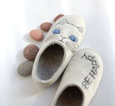 White Cat art Felted wool slippers for women- Gift for Cat lovers- Grey white natural wool house shoes- be happy woolen clogs- to order by AMdreAM on Etsy https://www.etsy.com/listing/225037789/white-cat-art-felted-wool-slippers-for