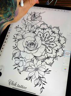 Simple Mandala Tattoo, Mandala Rose, Mandala Flower Tattoos, Flower Tattoo Drawings, Floral Tattoo Design, Flower Tattoo Designs, Floral Design, Neue Tattoos, Word Tattoos