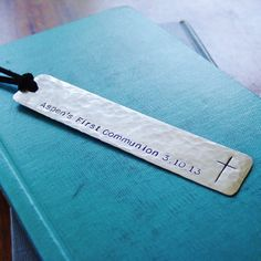 Personalized First Communion Bookmark Custom Hand by PearlieGirl
