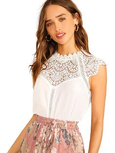 To find out about the Keyhole Back Guipure Lace Mock-neck Top at SHEIN, part of our latest Women Tops ready to shop online today! Boho, T Shirt Court, Moda Fashion, Womens Fashion, Pulls, Mock Neck, Sleeveless Blouse, Blouses For Women, Bohemia