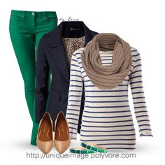 The colored jeans, the stripes, and the fitted top are so good.
