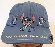 Stitch Cap/ Hat Here Comes Trouble Walt Disney World Youth Size Souvenir Blue #Disney