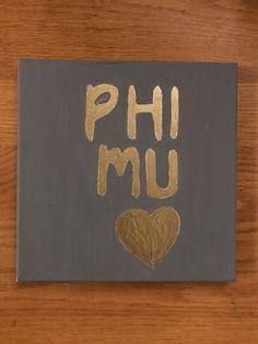 Phi Mu Gold and Grey Custom Canvas Phi Mu Canvas, Sorority Canvas, Big Little Canvas, Big Little Gifts, Alpha Chi Omega, Custom Canvas, Canvases, Handmade Gifts, Grey