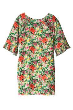 フリッカフラワープリントドレス