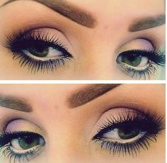 Love the purple smokey eyeshadow. The lashes are a bit much though!