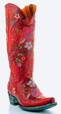 Doesn,t every girl need a pair of red boots? Womens Old Gringo Bonnie Vesuvio Boots Red via Boots Cowgirl Outfits, Cowgirl Boots, Western Boots, Western Wear, Cowboy Hats, Western Tack, Cowboy Boot, Funky Shoes, Crazy Shoes