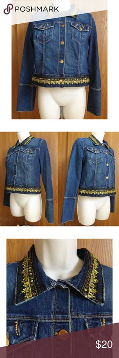 Embroidered Distressed Crop Denim Jacket Candies Distressed Denim Jacket. Long sleeves with 4-button detailing. Hemband and collar are embellished with intricate embroidery detail in gold thread further adorned with sequins.  Tagged as size Large (Juniors') 74%Cotton 25%Polyester 1% Spandex. EUC  Approx Measurements (will update at a later time, just want to list it now) pit to pit:  length: Candie's Jackets & Coats Jean Jackets