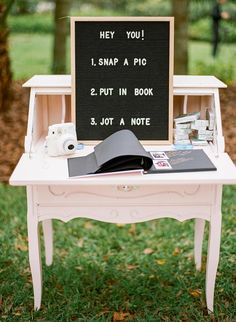 Rustic vintage wedding decor guest book with polaroids Eclectic Jewel-Toned Backyard Wedding Dream Wedding, Wedding Day, Perfect Wedding, Low Key Wedding, Wedding Book, Wedding Vintage, Laid Back Wedding, Wedding Things, Wedding Dreams