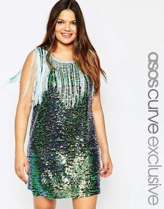 ASOS CURVE Festival Sequin Dress with Fringing