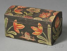 Small Paint-decorated Dome-top Box, attributed to