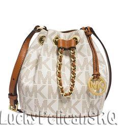 Michael Kors Frankie MK Signature Drawstring Crossbody Messenger Bag Vanilla NWT #MichaelKors #MessengerCrossBody