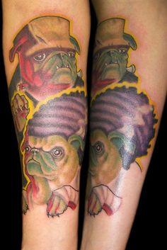 How fun are these little Halloween pugs? #InkedMagazine #pugs #tattoo #tattoos #frankenpug #dog #inked #Ink #art #Halloween