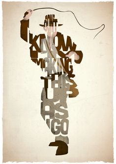 Series of creative posters by Pete Ware features popular movie characters made out of words and famous quotes.