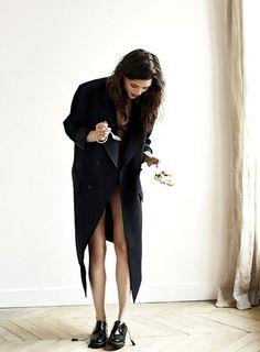long black, oxfords & wood chevron floors #style #fashion
