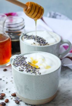 This honey lavender latte sounds AMAZING! Throw in the Vital Proteins Lavender Lemon Beauty Collagen for an extra boost of collagen protein, probiotics, and hyaluronic acid! Yummy Drinks, Healthy Drinks, Yummy Food, Tasty, Slow Cooker Desserts, Tea Recipes, Coffee Recipes, Recipies, Lavender Recipes