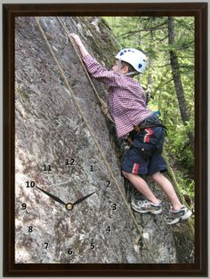 Rock climbing is a great form of exercise. This Rock Climbing Clock reminds this child of a great rock climbing experience. Rock Climbing, Clocks, Exercise, Children, Ejercicio, Excercise, Boys, Tag Watches, Kids