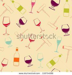 Wine glass, bottle and screw seamless pattern. Vector illustration. by Kotkoa, via ShutterStock