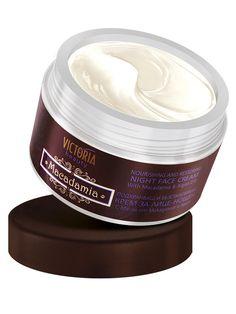 Crema anti-rid de noapte cu ulei de Macadamia si Argan - 50 ml - Formula unica ce actioneaza asupra tuturor straturilor epidermei. Asigura o hidratare profunda, hranire si efect de lifting. Pielea isi recastiga elasticitatea si catifelarea, devenind mai luminoasa. Potrivita pentru toate tipurile de piele, in special pentru cea uscata si matura. Victoria Beauty, Vaseline, Personal Care, Cream, Bottle, Face, Creme Caramel, Self Care, Petroleum Jelly