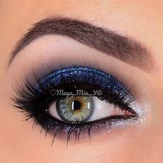 Sparkly blue and silver smokey eye