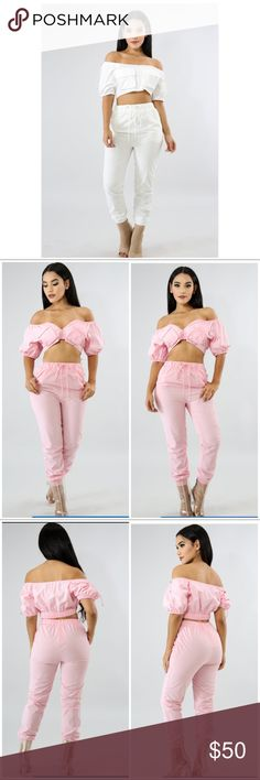 Bomber set Look bomb in this amazing and stunning bomber set. Comes with both the versatile bomber jacket and matching joggers pants! Wear off shoulder or as it was intended, with heels, casual shoes, or tennis shoes. There are so many ways to wear this set! Listing is for color white ONLY, we do not have Pink at this time! Material specs and sizing guide in the pics! Shop Iconic Glam today! Pants Track Pants & Joggers