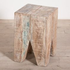 Stripped Wood Geometric Table // www.thespotteddoor.com