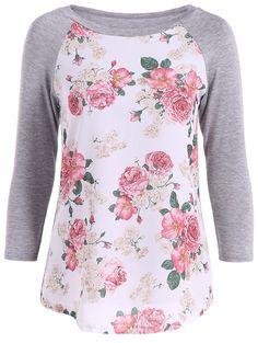 3D Floral Pattern Raglan Sleeve T-Shirt