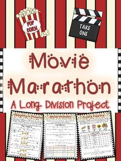 """Division Project or Math Center *Movie Marathon* (Long Division) Engage your students in practicing """"long"""" division (no matter what method you teach) with this 9 page project. Students get to explore the ins and outs of a movie theatre as they use their long division skills. Perfect for DIFFERENTIATION! $"""