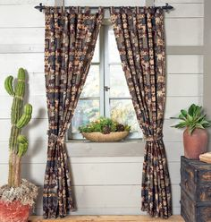 Woodland Cabin Drapes - A Black Forest Decor Exclusive - Patchwork wildlife scenes in wine, navy, forest green and browns are woven in a cotton/poly tapestry to create these inviting lodge drapes. Gazebo Curtains, Rustic Curtains, Kitchen Curtains, Country Curtains, Prep Kitchen, Rustic Kitchen, Black Forest Decor, Hallway Flooring, Living Room On A Budget
