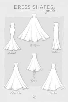 Kleiderformen - Informations About Dress Shapes P - Dress Design Sketches, Fashion Design Sketchbook, Fashion Illustration Sketches, Fashion Design Drawings, Fashion Sketches, Clothing Sketches, Wedding Dress Drawings, Wedding Dress Shapes, Wedding Drawing