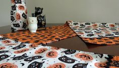 Retro Halloween Table Runner & Matching Booze or Wine Tote, Black Cats, Owls, Jack-o-lanterns