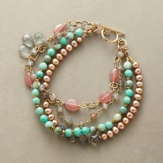 "Primavera bracelet: pearls, labradorite, chrysoprase, rhodochrosite, drops of faceted aquamarine. 12kt gold-filled chain/toggle. USA. 7-1/4""L. $328."
