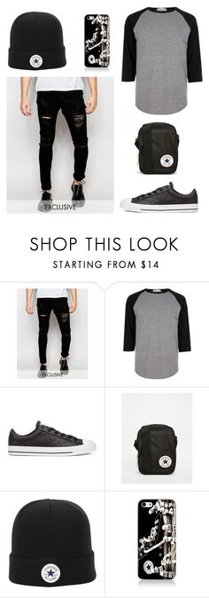 """""""Black And Grey 136"""" by mrswilkinson ❤ liked on Polyvore featuring Liquor n Poker, River Island, Converse, men's fashion, menswear, black, converse, grey and BlackAndGrey"""