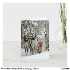 Wintertime Sleigh Ride Holiday Card Modern Christmas Cards, Christmas Scenes, Christmas Holidays, Holiday Fun, Holiday Cards, Christmas Costumes, Unique Cards, Scandinavian Christmas, Sympathy Cards