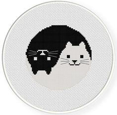 Looking for your next project? You're going to love Yin Yang Cat Cross Stitch Pattern by designer teamembro3703945. - via @Craftsy