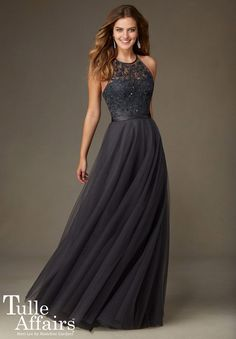 Check out the deal on Mori Lee Tulle Affairs 136 Hi Neck Long Bridesmaid Dress at French Novelty