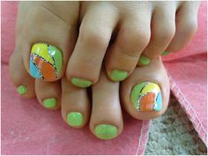 Nail Art For Toes - Mod Art in lime, tangerine, yellow and light blue