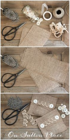 Make It! Burlap Lavender Sachet A No Sew Tutorial from On Sutton Place A handmade gift speaks volumes. When you take the time to make something personal, it is truly special. These lavender sachets are the perfect gift for that person who has everyt Lavender Crafts, Lavender Bags, Lavender Sachets, Burlap Crafts, Fabric Crafts, Sewing Crafts, Diy And Crafts, Sewing Projects, Homemade Gifts