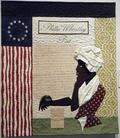 Quilt of Phyllis Wheatley, poet. And Still We Rise exhibit.