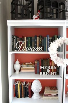 bookcase decor for holidays