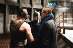 BTS of TDKR: Christian Bale, Tom Hardy and Christopher Nolan