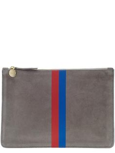 Clare V Supreme Flat Clutch - Dark Grey Suede w/ Red & Royal Blue Stripes