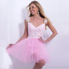 A-Line/Princess Scoop Sleeveless Beading Short/Mini Tulle Dresses ...