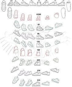 Anatomy Drawing Reference artist-refs: Shoe Study Angle Chart by Shadowcross - Feet Drawing, Drawing Poses, Drawing Tips, Drawing Sketches, Shoe Drawing, Drawing Artist, Anatomy Reference, Art Reference Poses, Design Reference